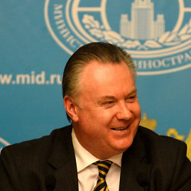 """""""Scanpix""""/""""Xinhua""""/""""Sipa USA"""" nuotr./Rusijos URM atstovas Aleksandras Lukaševičius"""