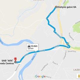 Google maps iliustr./Greitesnis kelias link Gariūnų, aplenkiant aplinkkelio spūstis