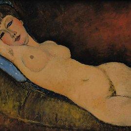 "wikimedia.org nuotr./Amedeo Modigliani paveikslas ""Nu Couché au coussin Bleu"""