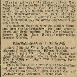 """MAVB nuotr./Laikraštyje """"Memeler Dampfboot"""" paskelbti 1926 m. varžybų rezultatai."""