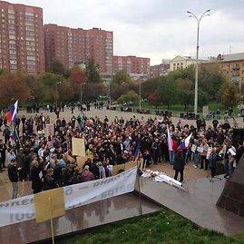 Protesto akcijos dalyviai