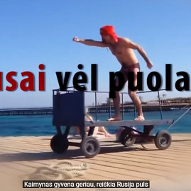 """Stop kadras/Stano ir D.Zvonkaus klipo """"Rusai vėl puola"""" kadras"""