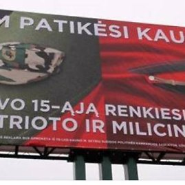 """""""Facebook"""" nuotr./Kaune pasirodžiusi politinė reklama klausia kauniečių, ką jie rinksis – patriotą ar milicininką?"""