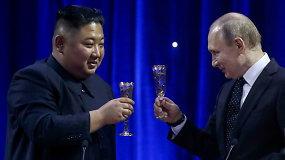 Vladivostoke baigėsi Kim Jong Uno ir V.Putino derybos: sieks glaudesnių ryšių