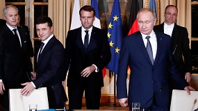 """""""Normandijos viršūnių"""" susitikimas: V.Putinas patenkintas derybomis,  V.Zelenskiui norėjosi išspręsti daugiau"""