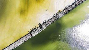 Griūvantis Šventosios tiltas iš paukščio skrydžio