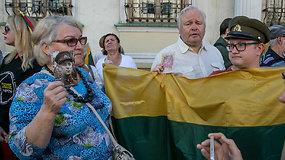 Klaipėdoje mitingo dalyviai reikalavo, kad partizaną žudiku įvardijęs V.Titovas atsisakytų savo žodžių