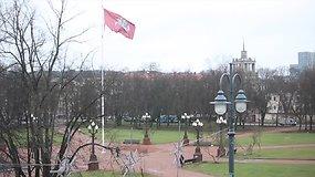 Vėjas sudraskė Lukiškių aikštėję plazdančią vėliavą