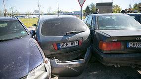 Masinė avarija Vilniaus Savanorių prospekte — išdaužyti dešimtys automobilių