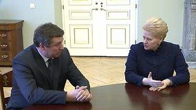 Kandidatas į krašto apsaugos ministrus Raimundas Karoblis susitiko su prezidente Dalia Grybauskaite