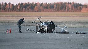 Barysių aerodrome nukrito sraigtasparnis, žuvo du žmonės