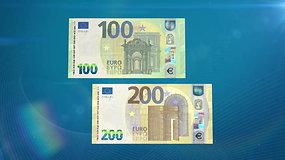 Susipažinkite: naujieji 100 ir 200 eurų banknotai