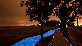 Lenkijoje dviratininkus pamalonino naktį šviečiančiu taku