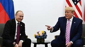 G20 susitikime D.Trumpas juokais pagrūmojo pirštu V.Putinui: nesikiškite į rinkimus