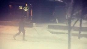 Smagus vaizdelis Kanadoje: vyras šaligatviu šliuožė slidėmis