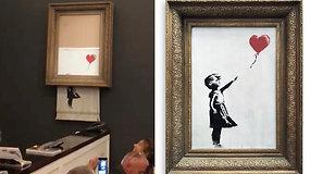 Banksy pokštas: savaime susinaikino aukcione už 1,4 mln. dol. parduotas grafitininko paveikslas