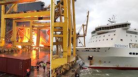 Barselonos uosto darbuotojai bėgo nuo galimos nelaimės – keltas susidūrė su doku