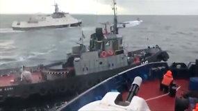 Paviešintas vaizdo įrašas, kuriame užfiksuotas Rusijos įvykdytas ukrainiečių laivų perėmimas