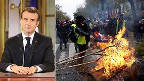"""""""Geltonosioms liemenėms"""" bandęs įtikti E.Macronas nieko nelaimėjo – protestai gali tęstis"""
