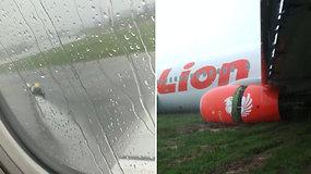 Pavojinga skrydžio pabaiga išgąsdino keleivius: lėktuvas nuslydo nuo tūpimo tako