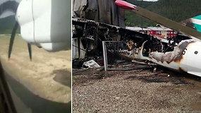 Keleiviai nufilmavo košmarišką lėktuvo nusileidimą Sibire – nuriedėjo nuo tūpimo tako ir įsirėžė į pastatą
