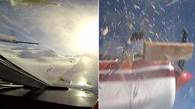 Paviešinta kraują stingdanti akimirka: virš Alpių susidūrė sraigtasparnis ir turistinis lėktuvas