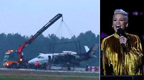 Per dainininkės Pink turą – dramatiškas įvykis: nutūpęs užsiliepsnojo gastrolių vadybininkus skraidinęs lėktuvas