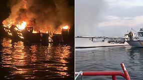 Mirtis prie Kalifornijos: užsidegęs ir nuskendęs laivas pražudė dešimtis žmonių