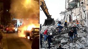 Albaniją sukrėtus galingam žemės drebėjimui kilo panika: pareikalavo mažiausiai šešių gyvybių, šimtai sužeisti