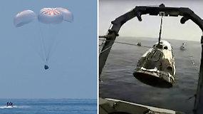"""Istorinė misija baigta: du TKS įgulos nariai """"SpaceX"""" erdvėlaiviu nusileido Meksikos įlankoje"""