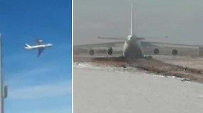 """Pamatykite: Sibire vos atsiplėšęs nuo žemės ėmė byrėti didžiulis krovininis lėktuvas """"Antonov An-124"""""""
