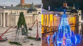 Pasigrožėkite: beveik dvi savaites nepertraukiamai fotografuota Vilniaus Kalėdų eglė