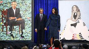 Barakas ir Michelle Obamos įamžinti drobėse: oficialiai pristatyti jų portretai