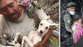 Jautrūs vaizdai: iš ugnikalnio Fuego spąstų išgelbėta mergaitė ir mylimas augintinis