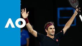 """""""Australian Open: dramatiškos Rogerio Federerio pergalės prieš Johną Millmaną akimirkos"""