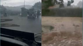 Po stiprių liūčių kilęs potvynis grasina pietryčių Lenkijai