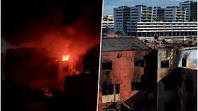 Per gaisrą sandėlyje, kur gyveno šimtai migrantų, žuvo 2  žmonės – dirbo 26 ugniagesių komandos