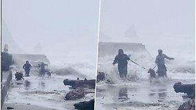 Užfiksavo dramatišką akimirką, kaip moterys su šunimi spruko nuo didžiulės bangos