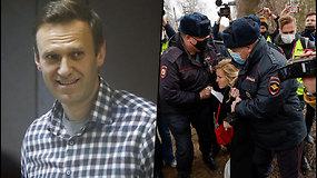 A.Navalno šalininkai sulaikyti prie pataisos kolonijos dėl viešosios tvarkos pažeidimų