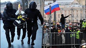 A.Navalno palaikymo akcijoje dalyvavo virš 100 Rusijos miestų – sulaikyta daugiau kaip 1,7 tūkst. žmonių