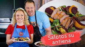 """""""Tarasovai virtuvėje"""". Pavasariškai spalvingos salotos su antiena ir ypatingu Violetos padažu: prireiks vos kelių ingredientų"""