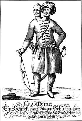 """Graviūra """"Turkų lankininkas"""" iš XVII a. knygos"""