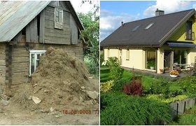 Gedas ir Daiva atnaujino 1926-aisiais statytą namą: gaisras, vagystės ir potvynis neaptemdė džiaugsmo kurti namus gamtos prieglobstyje