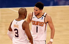 """Dvi karščiausios NBA komandos sudegė """"saulių"""" kaitroje ir beprotiškose taškų lenktynėse"""