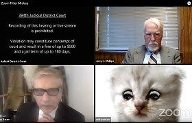 """""""Aš ne katinas"""": Teksase nuotolinį teismo posėdį sutrikdė nesėkmė su """"Zoom"""" filtru"""