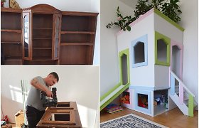 Seną sekciją Mindaugas su Lilija pavertė dukros žaidimų nameliu: ir kambary daugiau vietos, ir vaikui džiaugsmas