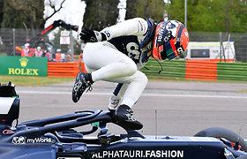 Yuki Tsunoda (Alpha Tauri) Formulės 1 kvalifikacijoje patyrė avariją