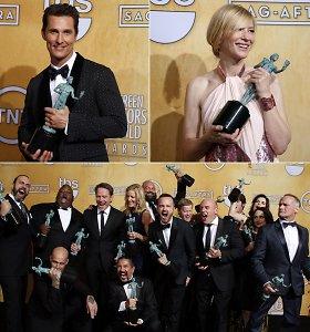 """Aktorių gildijos apdovanojimuose triumfavo Cate Blanchett ir Matthew McConaughey, televizijos kategorijos lyderis – """"Bręstantis blogis"""""""