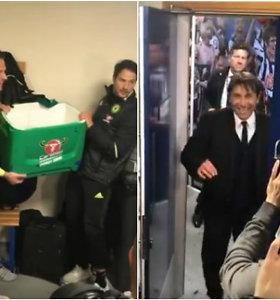"""""""Chelsea"""" džiaugsmas: gėjiški D.Costos juokeliai ir žaidėjų surengtos trenerio maudynės"""