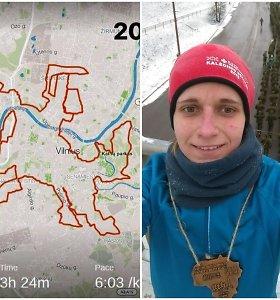 """Mingailė Vasario 16-ąją šventė ypatingai: nubėgusi Vilniaus gatvėmis 33 km """"nupiešė"""" Vytį"""